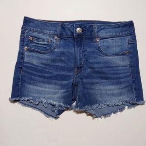 American Eagle Medium Wash Midi Denim Shorts 6